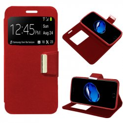 Funda Flip Cover iPhone 7 Plus Liso Rojo