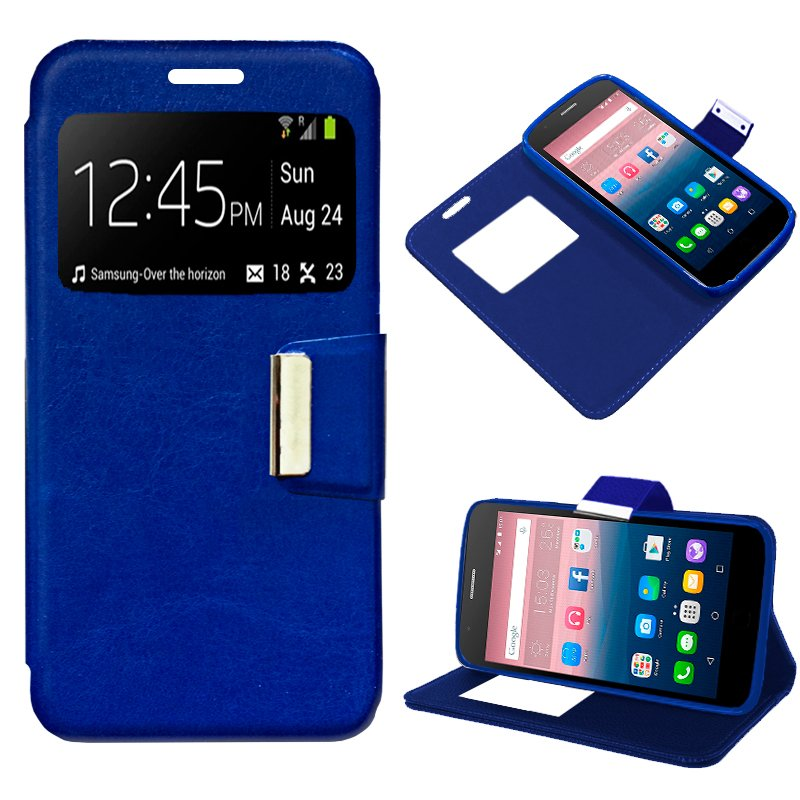 Funda Flip Cover Alcatel Pop Up Liso Azul