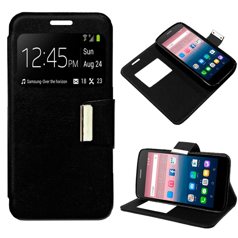 Funda Flip Cover Alcatel Pop Up Liso Negro