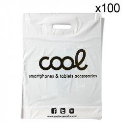 Pack 100 Bolsas Plástico Blancas Cool Accesorios Grandes (51 x 40 cm)