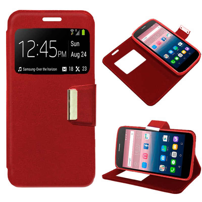 Funda Flip Cover Alcatel Pop Up Liso Rojo