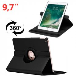 Funda iPad Air / Air 2 / Pro 9.7 / iPad 2017 / iPad 2018 9.7 pulg Giratoria Polipiel Negro