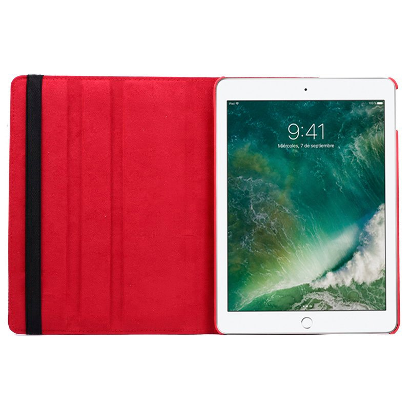 Funda iPad Air / Air 2 / Pro 9.7 / iPad 2017 / iPad 2018 9.7 pulg Giratoria Polipiel Rojo