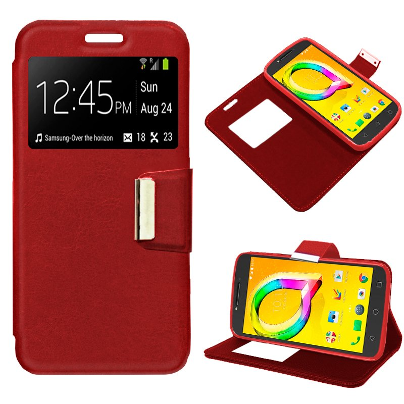 Funda Flip Cover Alcatel A5 Led Liso Rojo