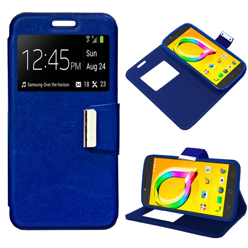 Funda Flip Cover Alcatel A5 Led Liso Azul