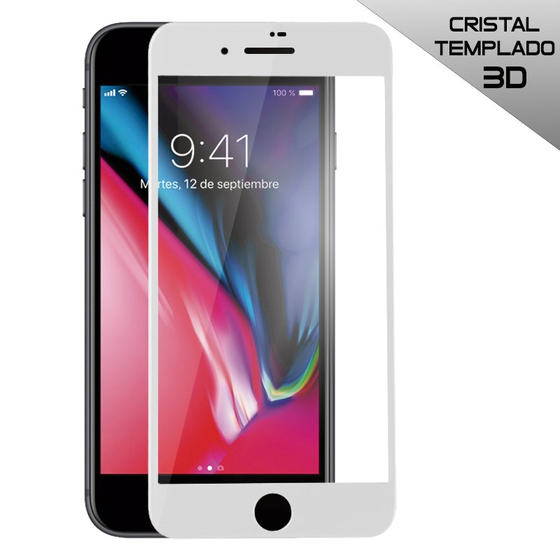 Protector Pantalla Cristal Templado iPhone 7 / iPhone 8 (FULL 3D Blanco)