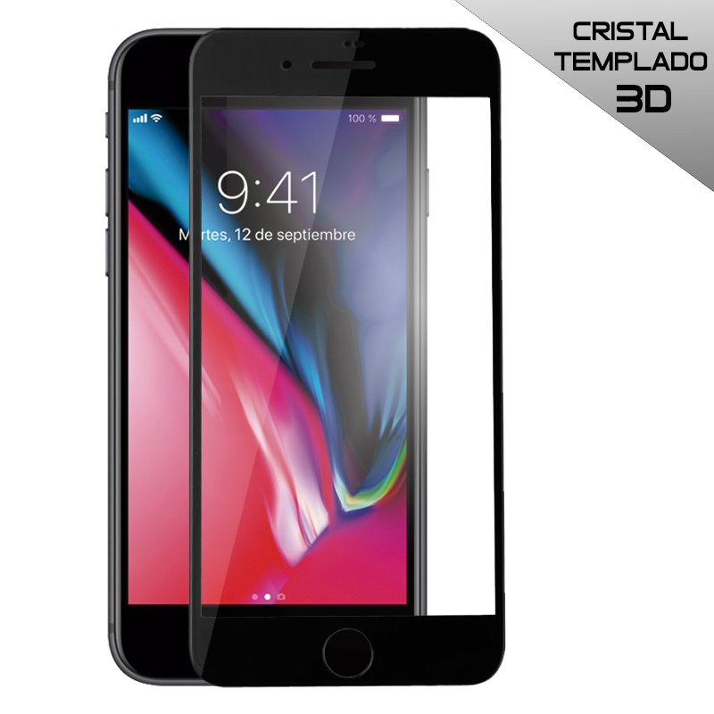 Protector Pantalla Cristal Templado iPhone 7 Plus / iPhone 8 Plus (FULL 3D Negro)