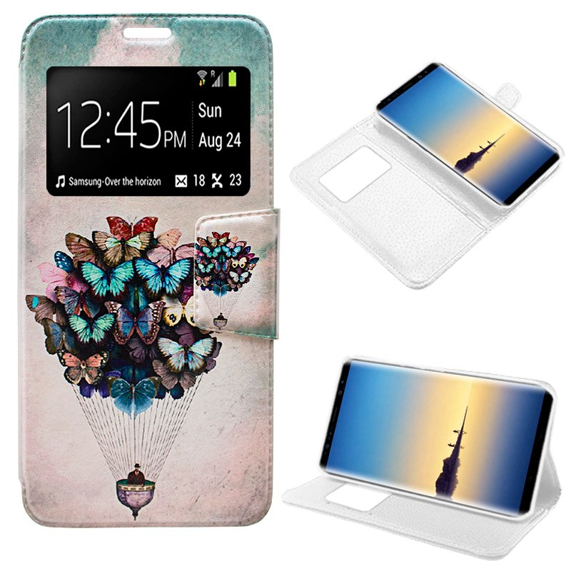 Funda Flip Cover Samsung N950 Galaxy Note 8 Dibujos Mariposas