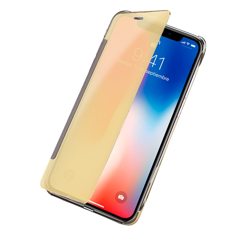 Funda Flip Cover iPhone X / iPhone XS Clear View Dorado