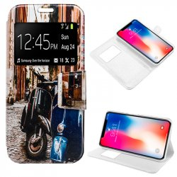 Funda Flip Cover iPhone X Dibujos Vespa