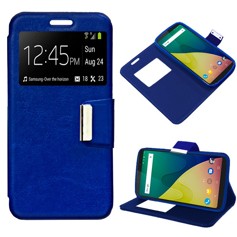 Funda Flip Cover Wiko View XL Liso Azul