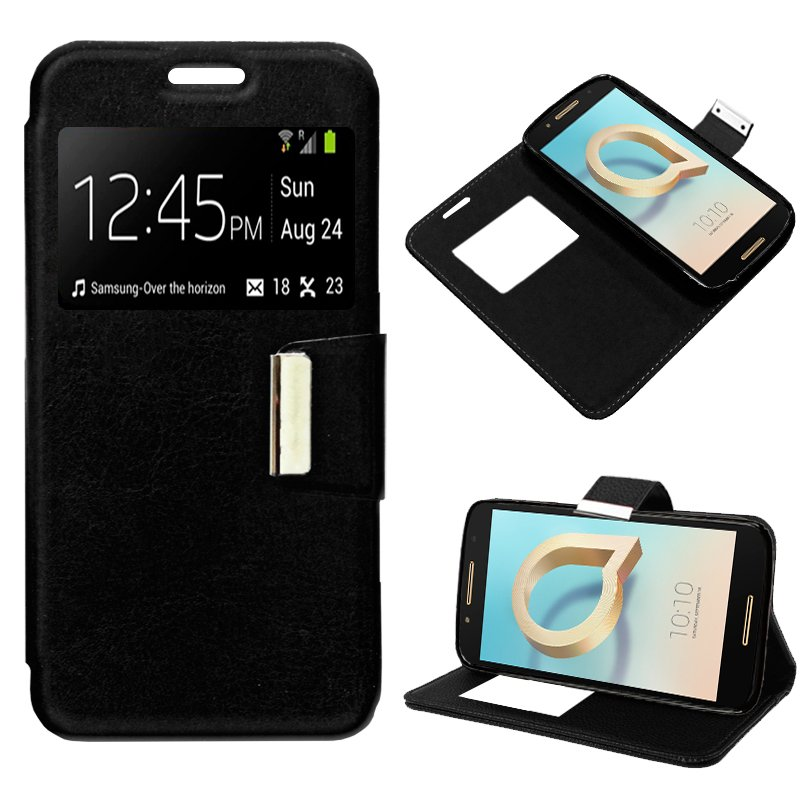 Funda Flip Cover Alcatel A7 Liso Negro