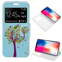 Funda Flip Cover iPhone X Dibujos Árbol