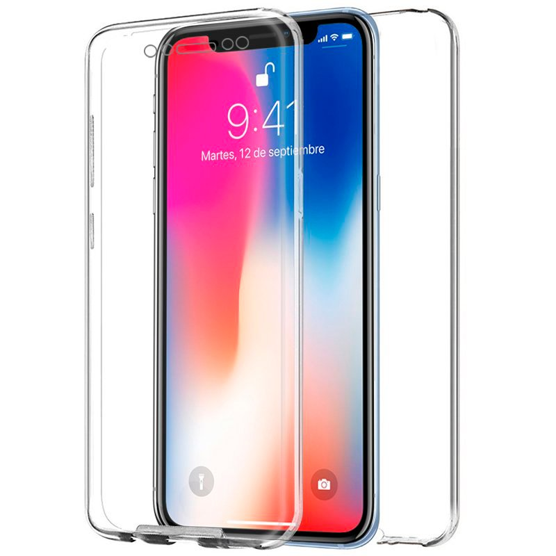 Funda Silicona 3D iPhone X / iPhone XS (Transparente Frontal + Trasera)