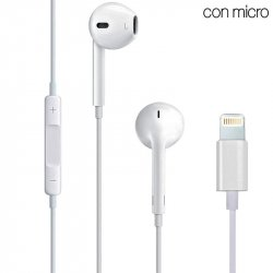 Auriculares Blancos Stereo Con Micro iPHONE 7 / 8 / X (Lightning)