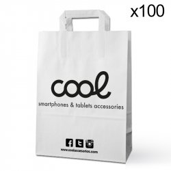 Pack 100 Bolsas Papel Blancas Cool Accesorios Pequeñas (23,5 x 18 cm)