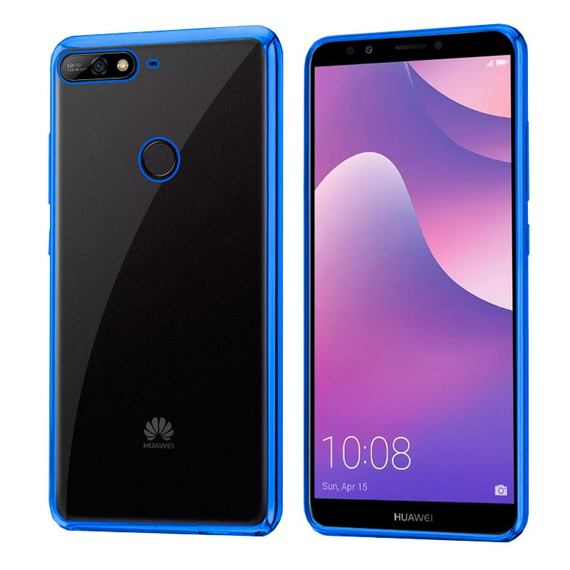 Carcasa Huawei Y7 (2018) / Honor 7C Borde Metalizado (Azul)