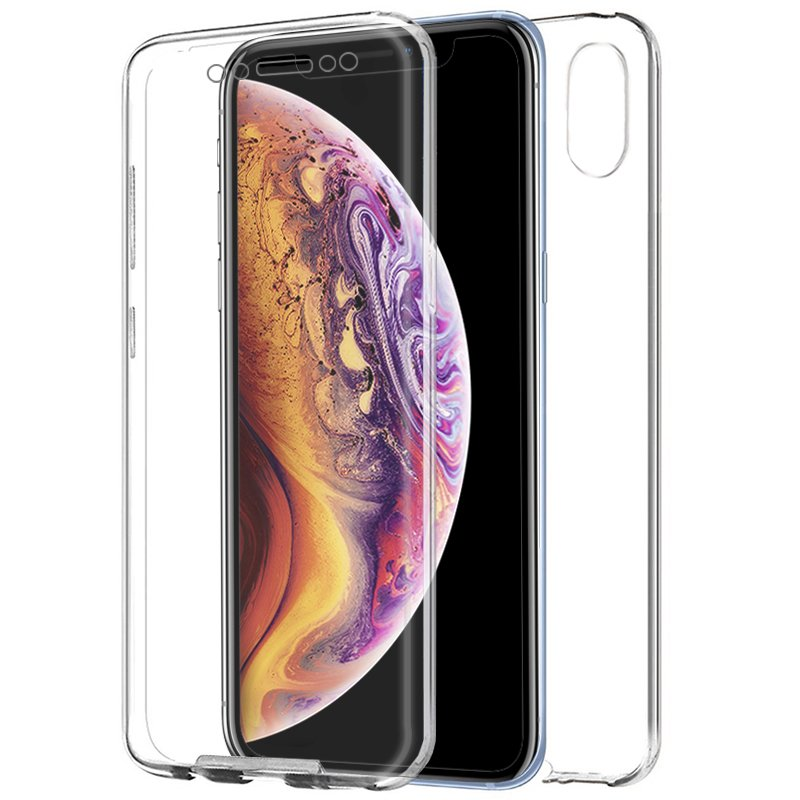 Funda Silicona 3D iPhone XS Max (Transparente Frontal + Trasera)