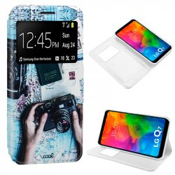 Funda Flip Cover LG Q7 Dibujos Travel