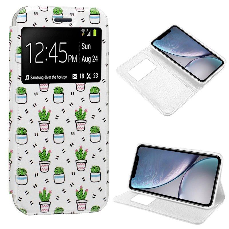 Funda Flip Cover iPhone XR Dibujos Cactus