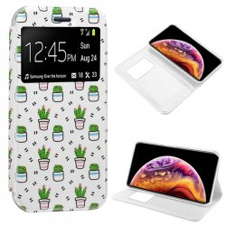 Funda Flip Cover iPhone XS Max Dibujos Cactus