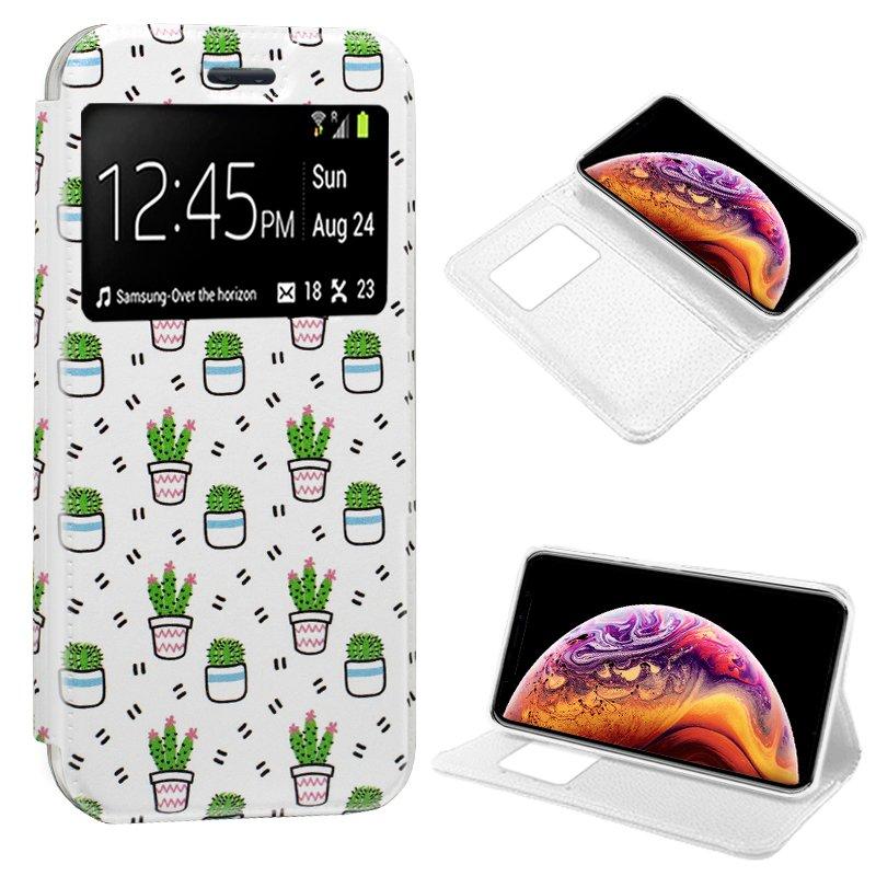 Funda Flip Cover iPhone XS Max Dibujos Cactus