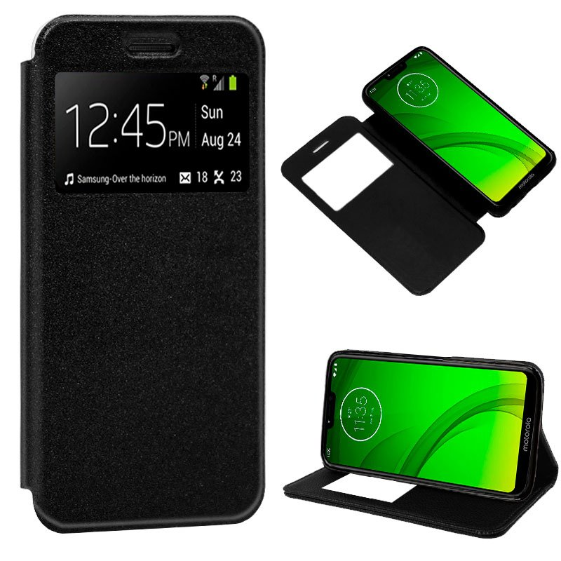 Funda Flip Cover Motorola Moto G7 / G7 Plus Liso Negro