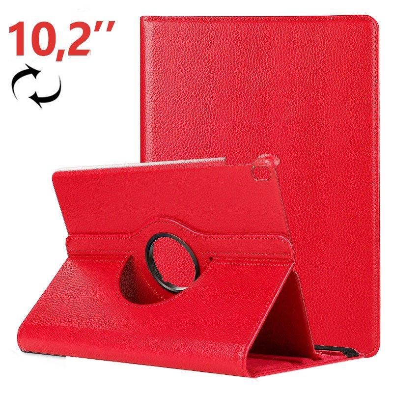 Funda iPad (2019) 10,2 pulg Giratoria Polipiel Rojo