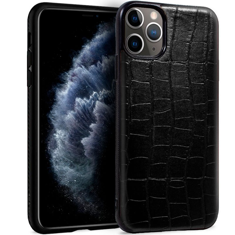 Carcasa iPhone 11 Pro Leather Crocodile Negro