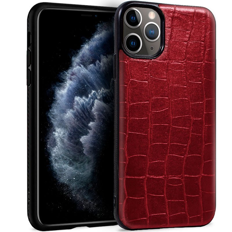 Carcasa iPhone 11 Pro Leather Crocodile Rojo