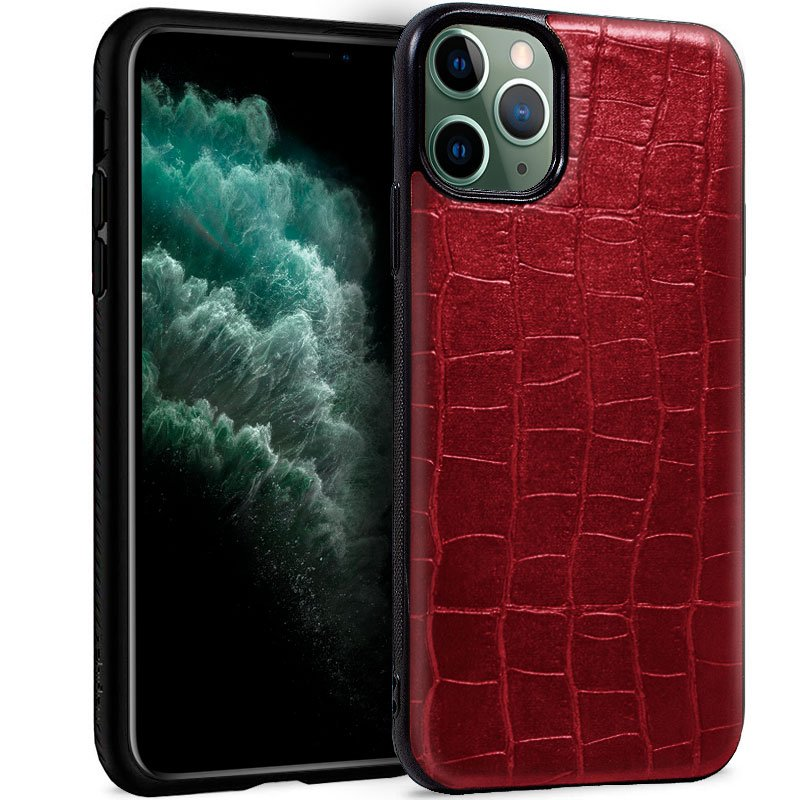Carcasa iPhone 11 Pro Max Leather Crocodile Rojo