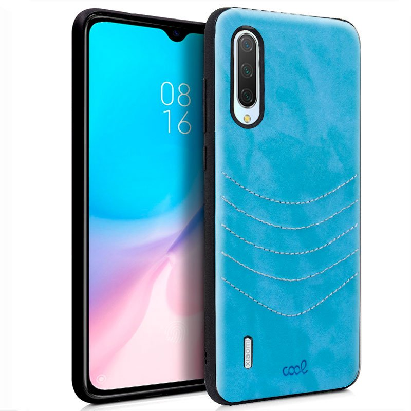 Carcasa Xiaomi Mi 9 Lite Leather Bordado Celeste
