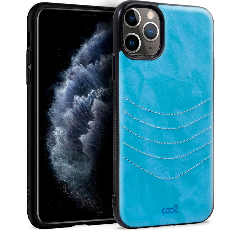 Carcasa iPhone 11 Pro Leather Bordado Celeste