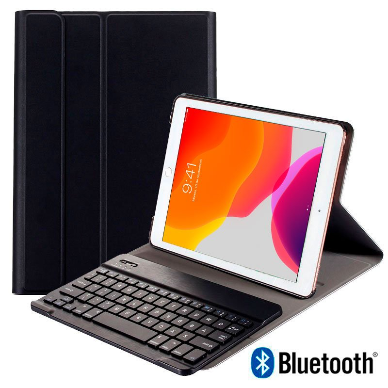 Funda iPad (2019) de 10,2 pulg Polipiel Teclado Bluetooth (Negro)