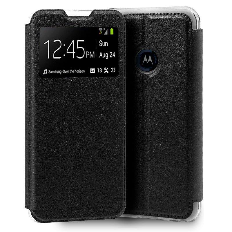 Funda Flip Cover Motorola One Macro Liso Negro