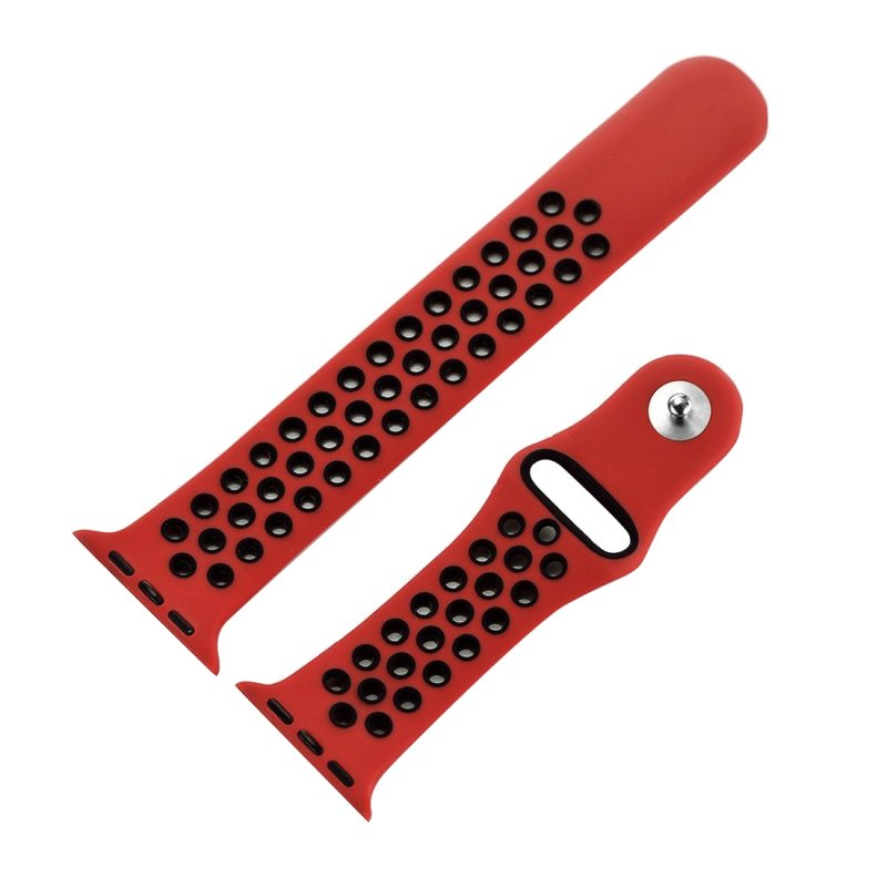 Correa COOL para Apple Watch Series 1 / 2 / 3 / 4 / 5 / 6 / SE (42 / 44 mm) Sport Rojo-Negro